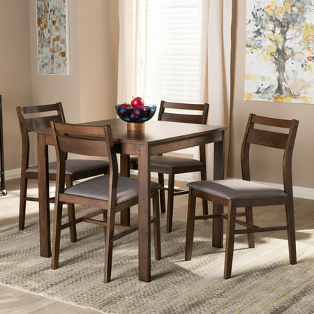 Baxton Studio Lovy Modern and Contemporary Gray Fabric Upholstered Dark Walnut-Finished 5-Piece Wood Dining Set (Stylish Solid Wood)