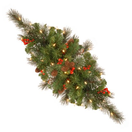 """National Tree 30"""" Crestwood Spruce Centerpiece with Silver Bristle, Cones, Red Berries, Glitter and Battery Operated LED Lights with Timer"""