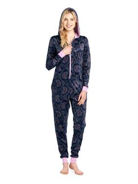 07baf622fac3 Product Image Ashford   Brooks Women s Mink Fleece Hooded One Piece Pajama  Jumpsuit - Pink Navy Paisley -