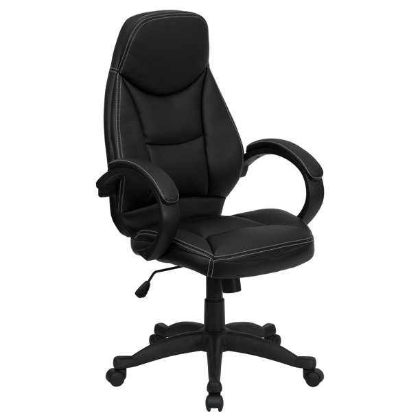 Flash Furniture High Back Black LeatherSoft Contemporary Executive Swivel Ergonomic Office Chair with Curved Back and Loop Arms