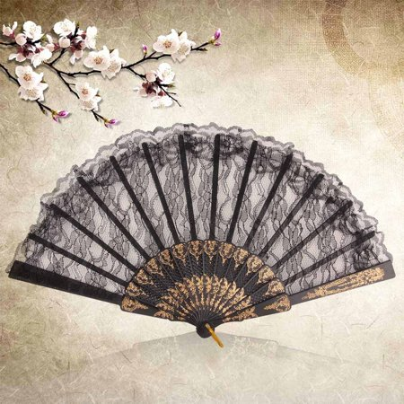 Vintage Gorgeous Lace Fancy Dress Chinese Style Costume Party Wedding Dancing Folding Black Lace Hand Fan