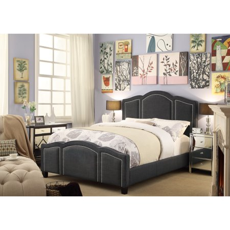 FULLY WIND CO, LTD. Moser Bay Furniture Belita Queen Size Linen Charcoal Waved Top Upholstery Bed