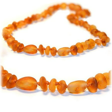 The Art of Cure Original Baltic Amber Necklace- Polished Handmade (Raw Olive/Round) for boy or girl ? 12 - 12.5 Inches size