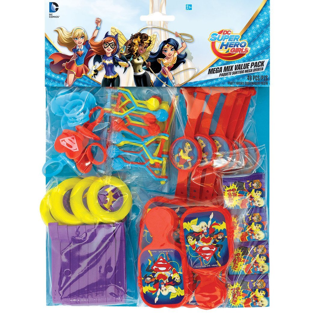 DC SuperHero Girl Mega Mix Value Pack Favors, 48ct, Perfect DC Comic party supplies for a kid's birthday party or Super Hero themed party By Amscan