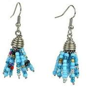 Zakali Creations Maasai Beaded Spike Earrings, Blue