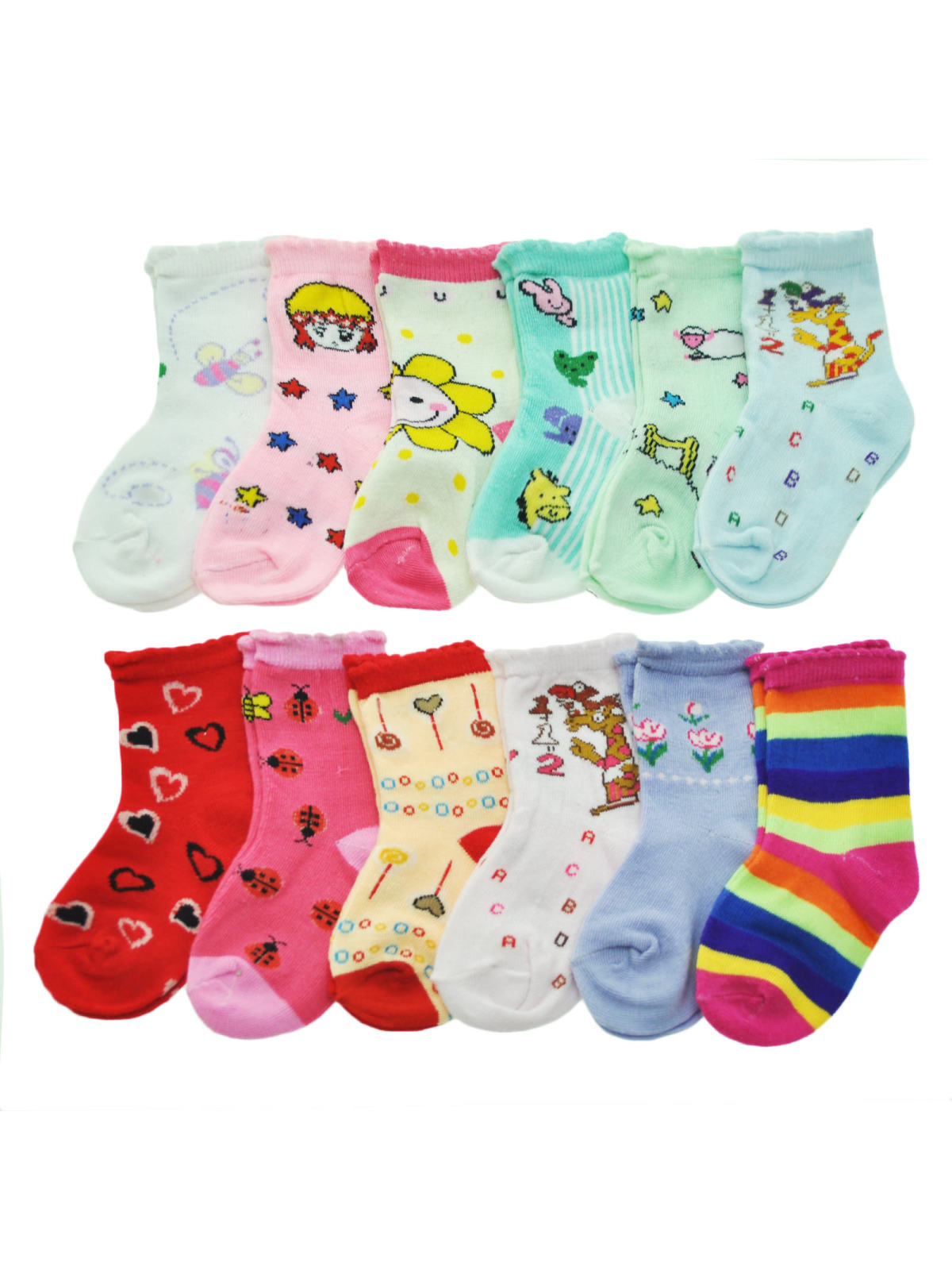 Angelina Kid's Novelty Crew Socks (12-Pairs)