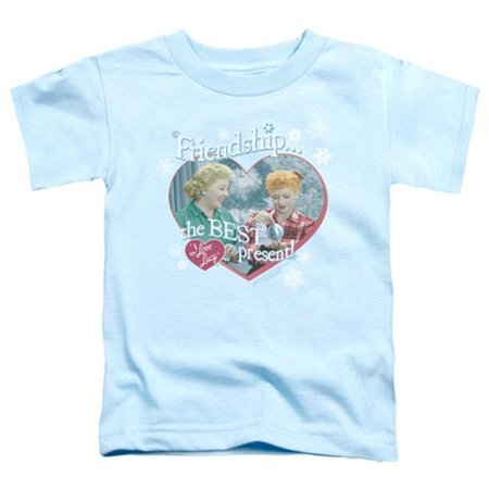Trevco Lucy-The Best Present Short Sleeve Toddler Tee, Light Blue - Large