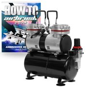 PointZero 1/3 HP Twin Piston Airbrush Compressor - Professional Quiet Oil-less Air Pump with Tank