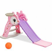 56'' Foldable Kid Slide Toddler Slide Set, 2 IN 1 Slides For Kids With Climb Stairs   Basketball Hoop   Ball,Indoor Outdoor Children Activity Playground