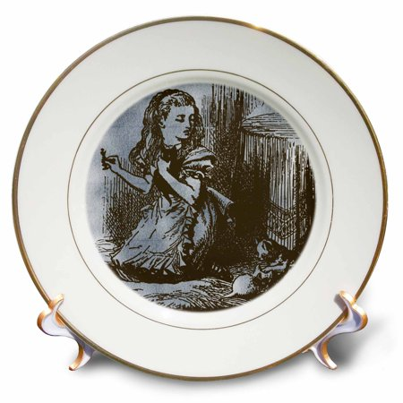 Alice In Wonderland Party Plates And Cups (3dRose Alice with Cats Vintage Alice in Wonderland, Porcelain Plate,)