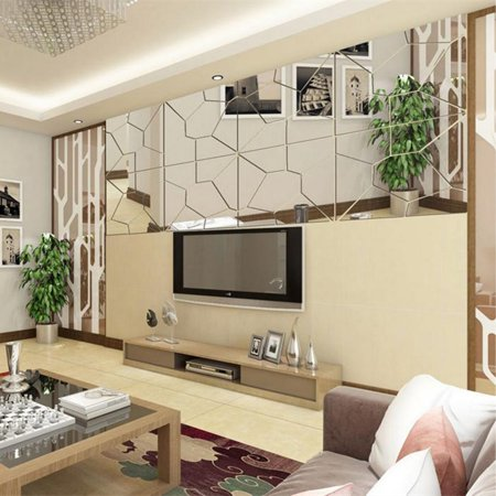 - 7pcs 3D Self Adhesive Peal and Stick Removable Modern Mirror Tile Acrylic Mirror Sheets Wall Stickers Decal Art Mural For  Living Room Bedroom Home Decoration