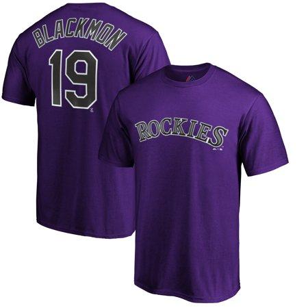 Charlie Blackmon Colorado Rockies Majestic Logo Official Name & Number T-Shirt - Purple - Purple Minion Name