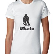 Trendy iSkate Skateboarding Skater Silhouette Women's Cotton T-Shirt