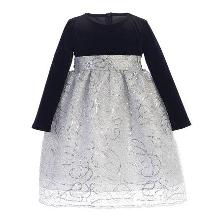 703e9b15f33 Sophias Style - Big Girls Black Silver Velvet Corded Sequin Christmas Dress  7-10 - Walmart.com