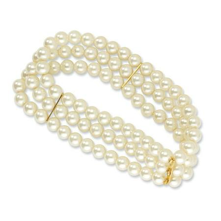 Gold-tone Cultura Glass Pearl Stretch Bracelet