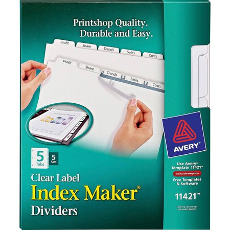 Avery Print & Apply Clear Label Dividers w/White Tabs, Copiers, 5-Tab, Letter, 5 Sets