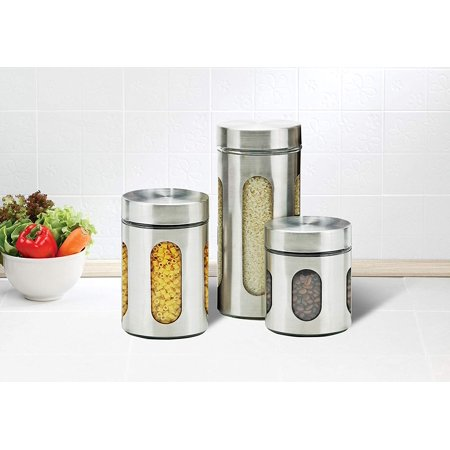 Zanzer Stainless Steel Canister Set With Airtight Lids And ...