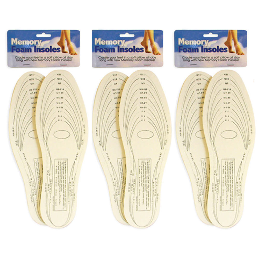 3 Pair Memory Foam Insoles Shoe Comfort Unisex Size Cushion Feet Pad Heel Shock