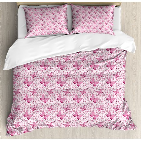 Butterfly Duvet Cover Set, Floral Arrangement and Cute Hearts Background Animals with Vibrant Colors, Decorative Bedding Set with Pillow Shams, Pale Pink White, by Ambesonne ()
