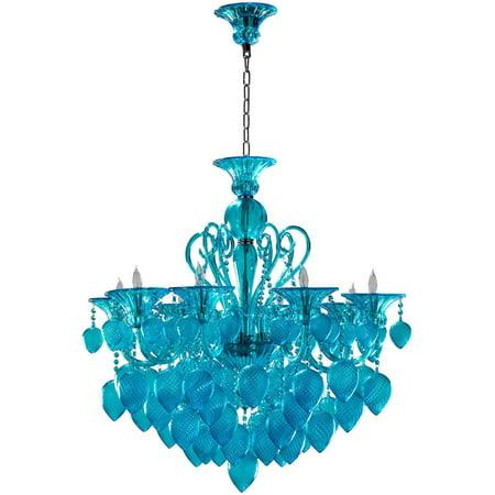 Chandelier Cyan Design Bella Vetro Murano Italian 8 Light Aqua Gold Leaf Cy 1187