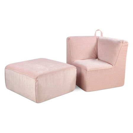 Kangaroo Trading Tween Upholstered Corner Chair and Ottoman - Zamora Blush ()