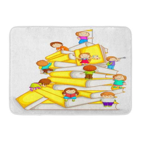 GODPOK Story White Child of Kids Climbing in Stack Book School Kindergarten Rug Doormat Bath Mat 23.6x15.7 inch (Kindergarten Rugs)