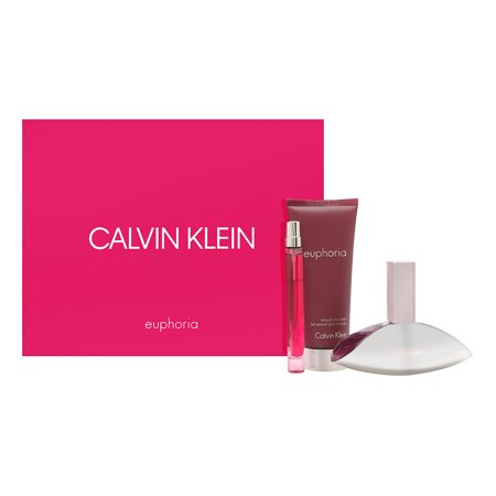 Euphoria by Calvin Klein for Women 3 Piece Set Includes: 1.7 oz Eau de Parfum Spray + 0.33 oz Eau de Parfum Rollerball + 3.4 oz Sensual Skin - Euphoria Set