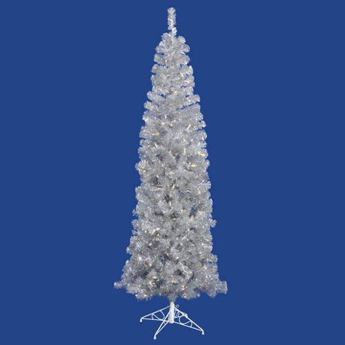 6.5' Pre-Lit Sparkling Silver Pencil Artificial Christmas Tree - Clear Lights