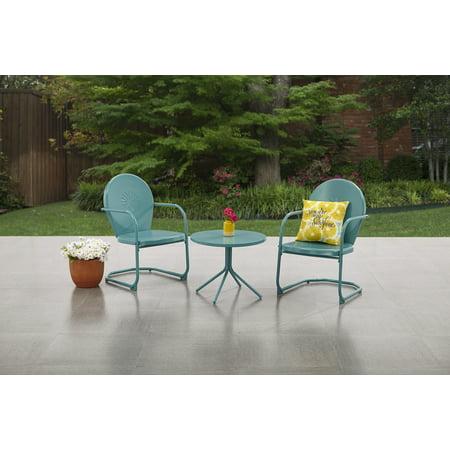 Allstate Patio Furniture.Mainstays Retro C Spring 3 Piece Metal Outdoor Bistro Teal