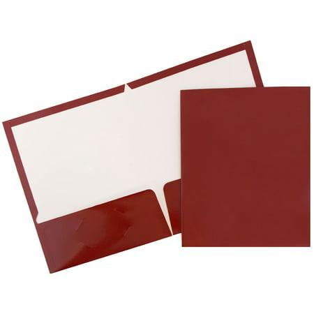 JAM Paper Glossy Two Pocket Presentation Folder, Maroon, 6/pack - Electronic Paper Folder