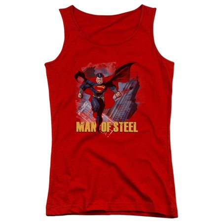 Man of Steel Superman Fly By Juniors Tank Top Shirt
