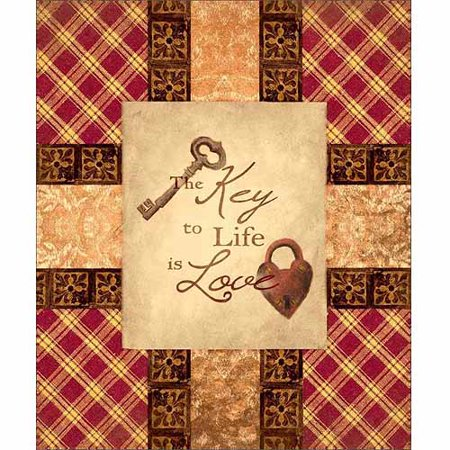 - Love Is Key Primitive Pattern Patchwork Folk Inspirational Painting Red & Tan Canvas Art by Pied Piper Creative