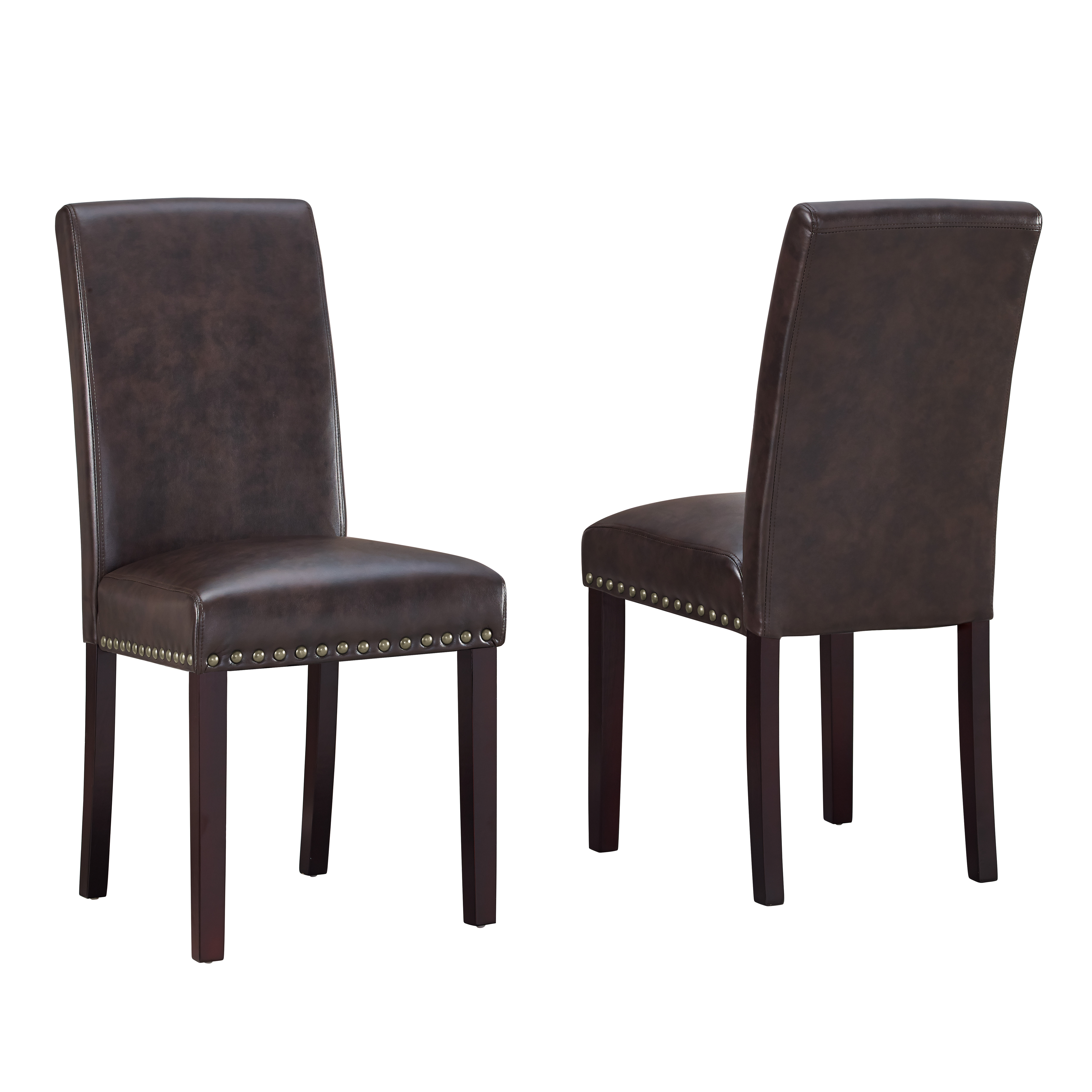DHI Nice Nail Head Faux Leather Dining Chair, 2 Pack, Multiple Colors