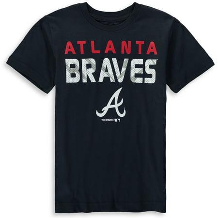 MLB Atlanta Braves TEE Short Sleeve Boys Team Name and LOGO 100% Cotton Team Color 4-18