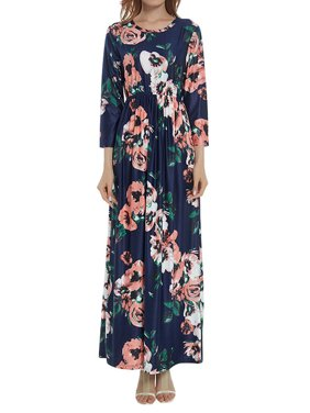 04a540acf90331 Product Image Starvnc Women Long Sleeve Round Neck Floral Printed Lady Maxi  Dress
