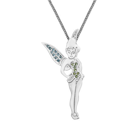 Disney's Tinker Bell Pendant Necklace with Swarovski Crystal in Sterling Silver