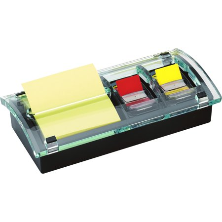 Post-it Notes Note and Flag Dispenser, 3 x 3 Canary Notes and Assorted Flags, Black/Clear -MMMDS100
