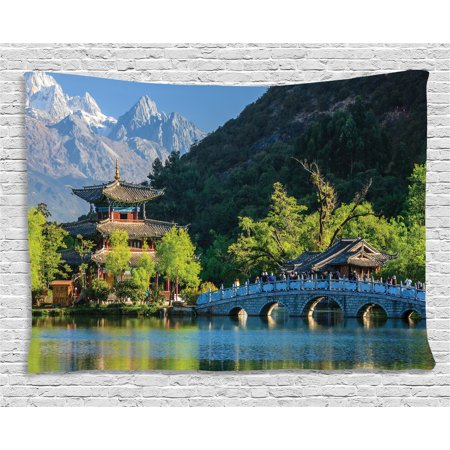 Ancient China Tapestry, Old Town Scene of Lijiang Black Dragon Pool Park Jade Dragon Snow Mountain, Wall Hanging for Bedroom Living Room Dorm Decor, 60W X 40L Inches, Multicolor, by Ambesonne