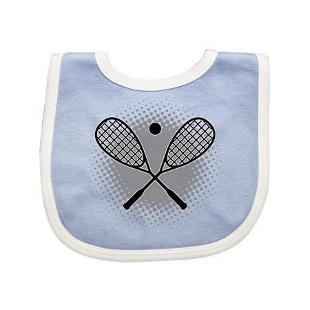 Squash Sport Rackets And Ball Baby Bib Blue White One Size