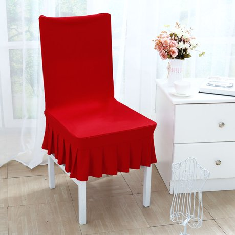 Stretchy Spandex Ruffled Skirt Short Dining Room Chair Covers