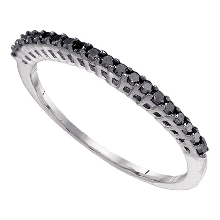 Black Diamond Wedding Band 10k White Gold Stackable Ring Anniversary Style Fashion Slim Delicate 1/4 ctw ()