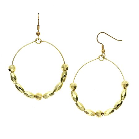 X & O 14KT Gold Plated Rosette and Faceted Oval Beaded Earring