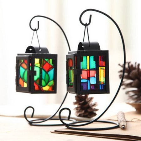 - Girl12Queen Iron Craft Colorful Glass Hanging Candlestick Candle Holder Light Lantern Stand