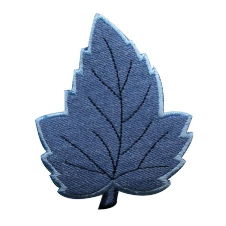 ID 1377 Maple Leaf Patch Winter Leaves Tree Frost Embroidered Iron On Applique