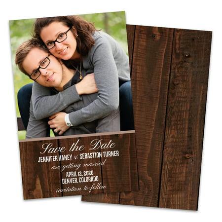 Personalized Woodgrain Wedding Save The - Wedding Sale