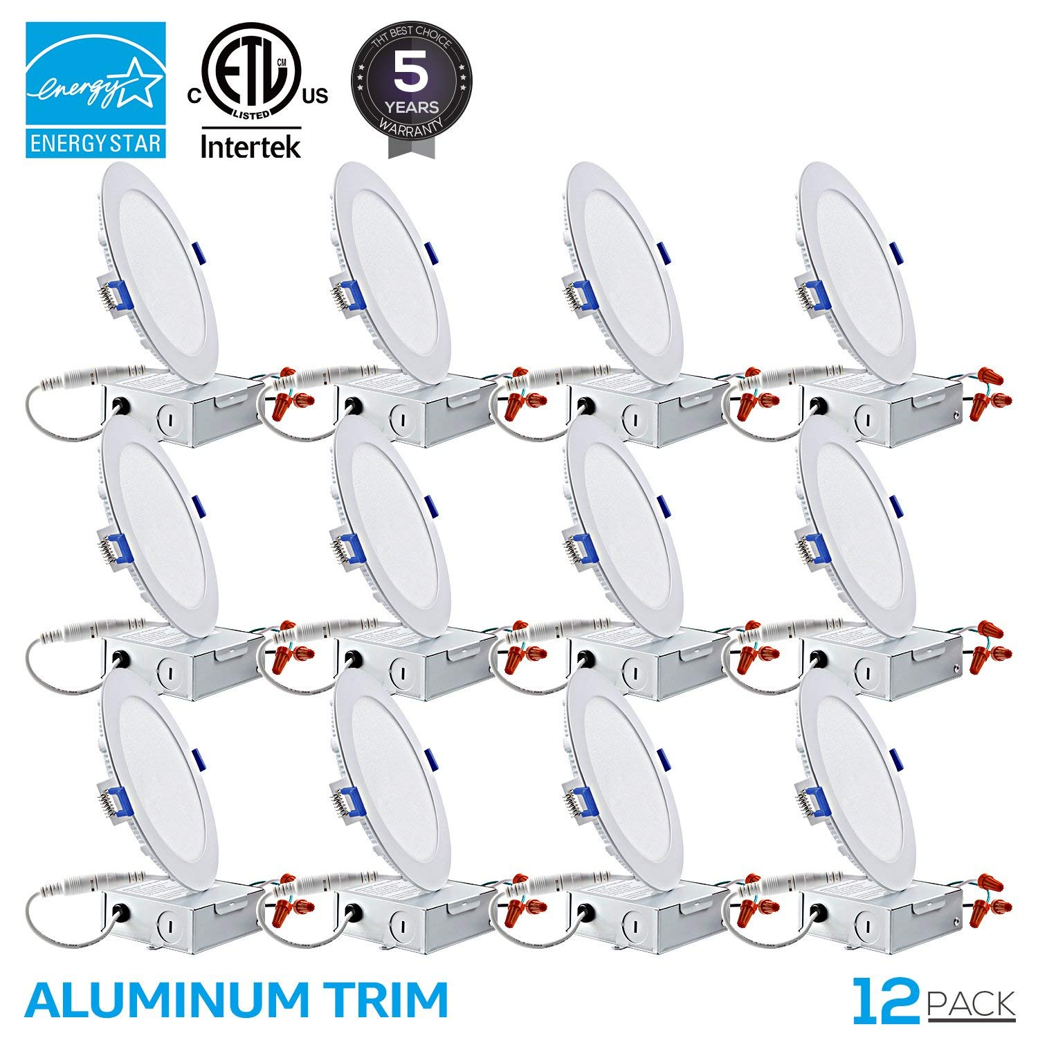 TORCHSTAR 12 Pack 12W 6 inch Ultra-thin Recessed Ceiling Light with Junction Box, Dimmable Can-killer Airtight Downlight, 850lm 100W Equivalent, 3000K Warm White