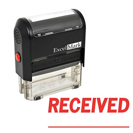 ExcelMark RECEIVED With Signature Line Self-Inking Rubber Stamp (A1539-Red Ink) Line Stamp Sets