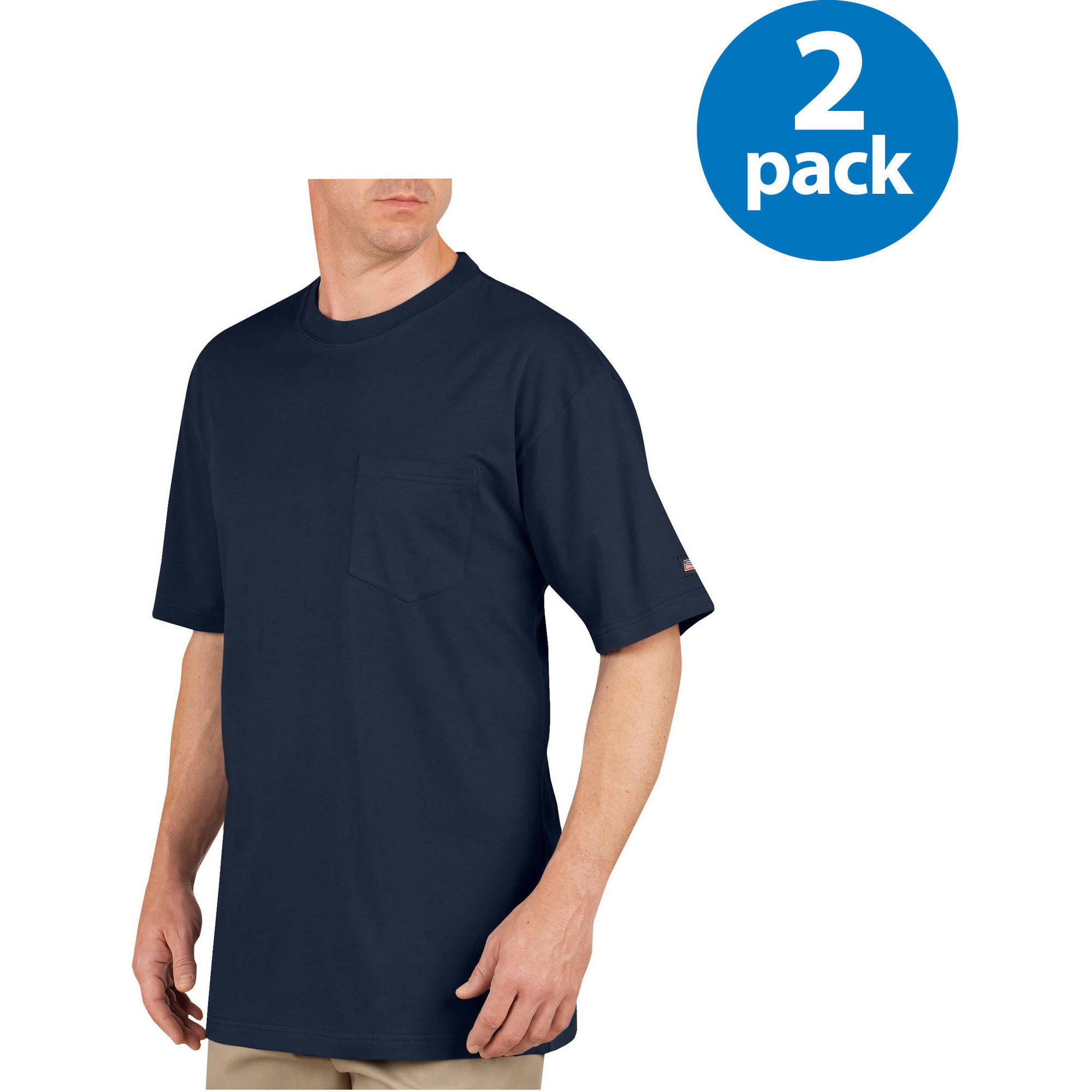 Genuine Dickies Big and Tall Men's Heavy Weight Pocket Tee- 2 pack
