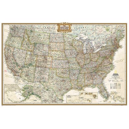 National geographic: united states executive wall map (36 x 24 inches): 9781597752206 (Bats Of United States)