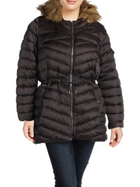 Jessica Simpson Womens Plus Water Resistant Faux Fur Puffer Coat